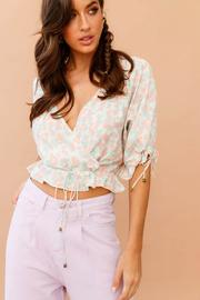 Jungle Flora Crossover Neck Blouse // Pink/Green